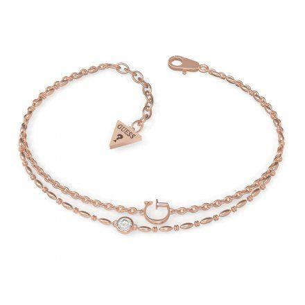 Biżuteria Guess damska bransoletka różowe złoto literka G UBB79031-L
