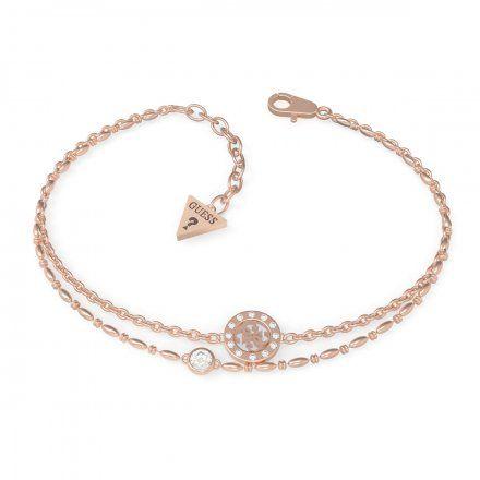 Biżuteria Guess damska bransoletka różowe złoto logo UBB79034-S