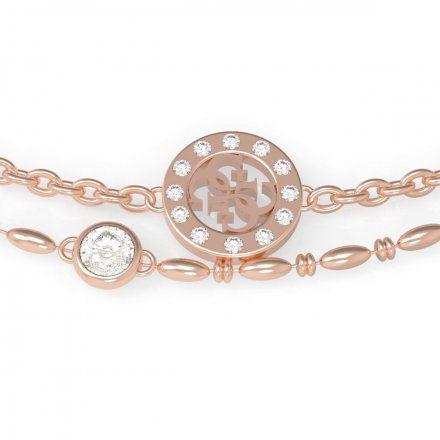 Biżuteria Guess damska bransoletka różowe złoto logo UBB79034-L