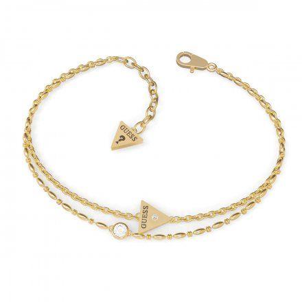 Biżuteria Guess damska bransoletka złota trójkąt logo UBB79036-S
