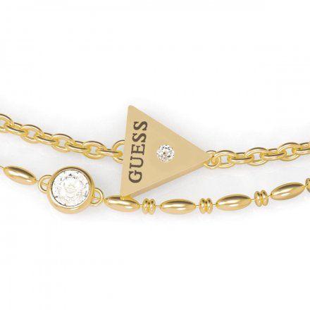 Biżuteria Guess damska bransoletka złota trójkąt logo UBB79036-L