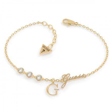 Biżuteria Guess damska bransoletka złota G logo UBB79039-S