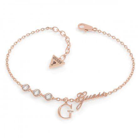 Biżuteria Guess damska bransoletka różowe złoto G logo UBB79040-L