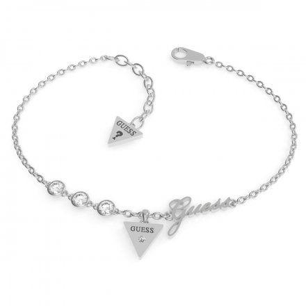 Biżuteria Guess damska bransoletka srebrna trójkąt logo UBB79044-S