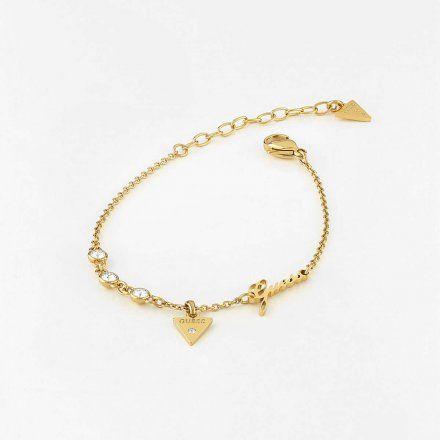 Biżuteria Guess damska bransoletka złota trójkąt logo UBB79045-L