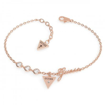 Biżuteria Guess damska bransoletka różowe złoto trójkąt logo UBB79046-S