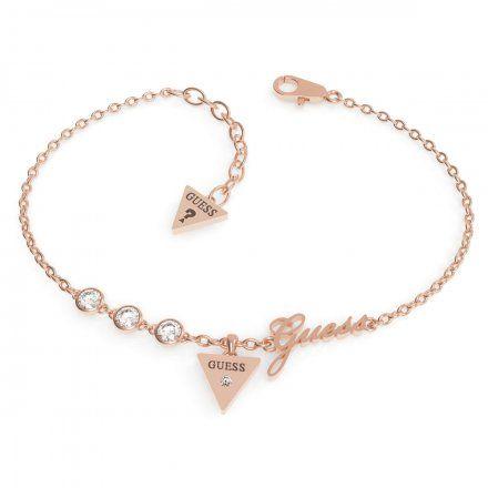 Biżuteria Guess damska bransoletka różowe złoto trójkąt logo UBB79046-L