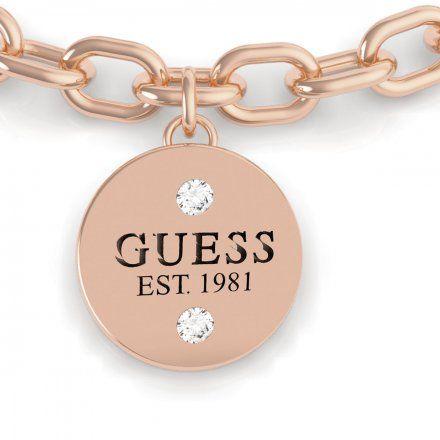 Biżuteria Guess damska bransoletka różowe złoto trzy charmsy UBB79052-S