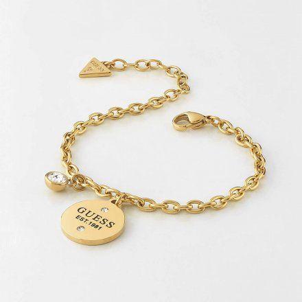 Biżuteria Guess damska bransoletka złota zawieszki UBB79054-S
