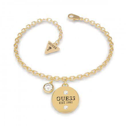 Biżuteria Guess damska bransoletka złota zawieszki UBB79054-L