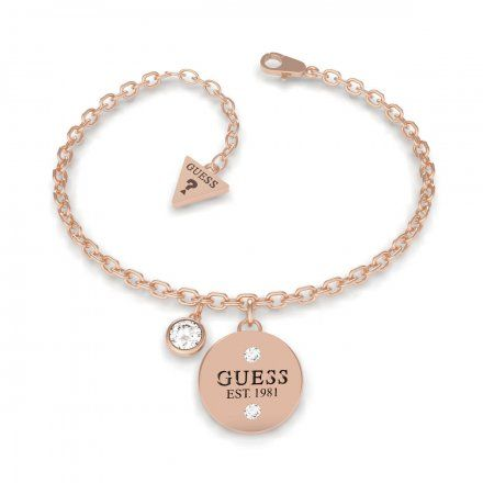 Biżuteria Guess damska bransoletka różowe złoto zawieszki UBB79055-S