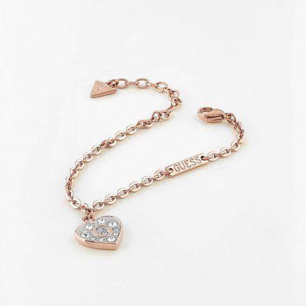 Biżuteria Guess damska bransoletka złota serce z kryształami UBB79063-S