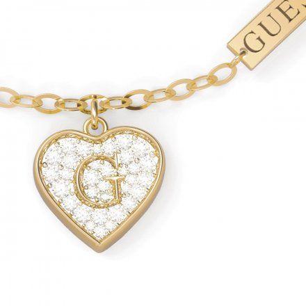 Biżuteria Guess damska bransoletka złota serce z kryształami UBB79063-L