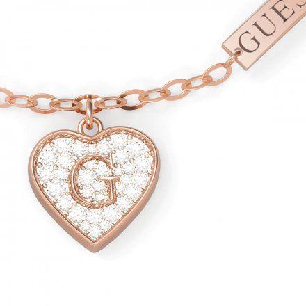 Biżuteria Guess damska bransoletka różowe złoto serce z kryształami UBB79064-S