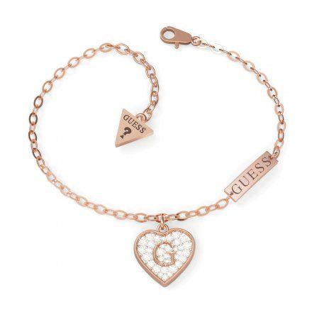 Biżuteria Guess damska bransoletka różowe złoto serce z kryształami UBB79064-L