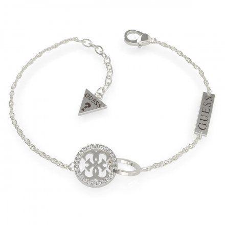 Biżuteria Guess damska bransoletka srebrna logo UBB79078-L