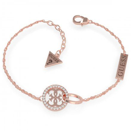Biżuteria Guess damska bransoletka różowe złoto logo UBB79079-L