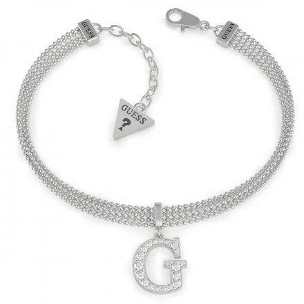 Biżuteria Guess damska bransoletka srebrna G z kryształkami UBB79084-L