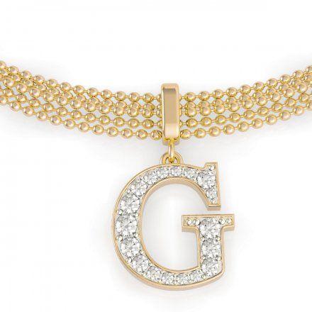 Biżuteria Guess damska bransoletka złota G z kryształkami UBB79085-S