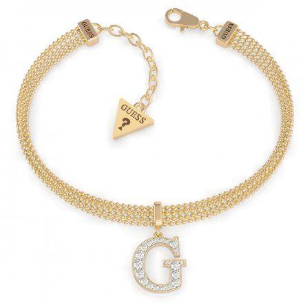 Biżuteria Guess damska bransoletka złota G z kryształkami UBB79085-L