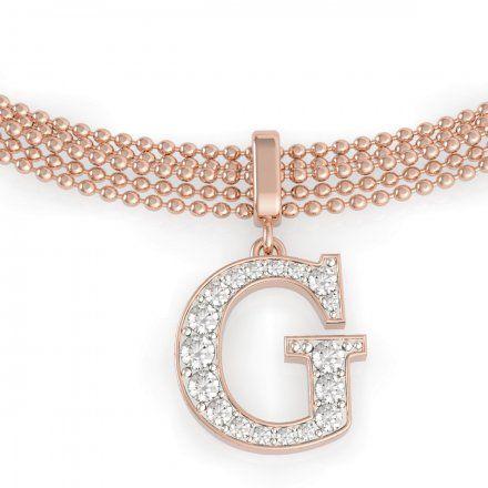 Biżuteria Guess damska bransoletka różowe złoto G z kryształkami UBB79086-L
