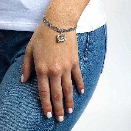 Biżuteria Guess damska bransoletka srebrna G z kryształkami UBB79087-S