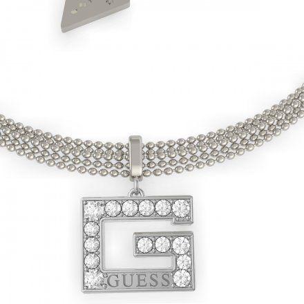 Biżuteria Guess damska bransoletka srebrna G z kryształkami UBB79087-L
