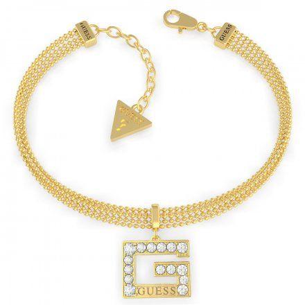 Biżuteria Guess damska bransoletka złota G z kryształkami UBB79088-S