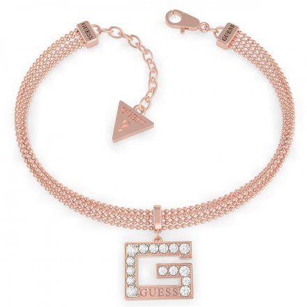 Biżuteria Guess damska bransoletka różowe złoto G z kryształkami UBB79089-S