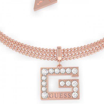 Biżuteria Guess damska bransoletka różowe złoto G z kryształkami UBB79089-L