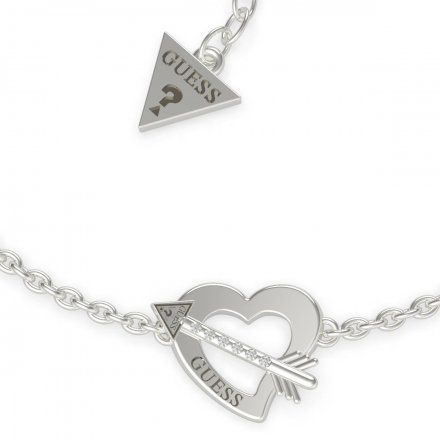 Biżuteria Guess damska bransoletka srebrna serce strzała UBB79090-S