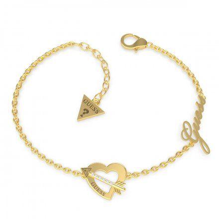 Biżuteria Guess damska bransoletka złota serce strzała UBB79091-S