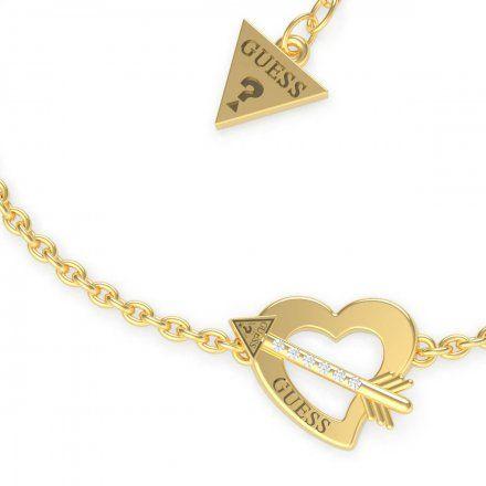 Biżuteria Guess damska bransoletka złota serce strzała UBB79091-L