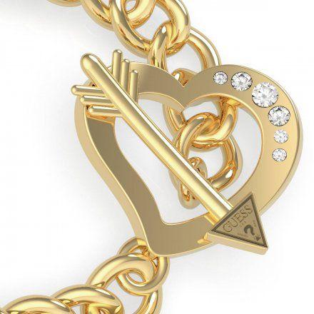Biżuteria Guess damska bransoletka złota serce strzała UBB79094-S