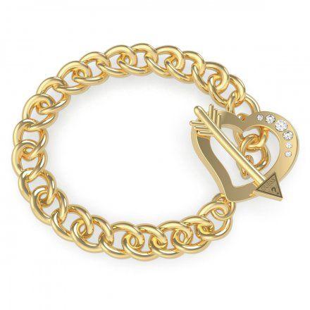 Biżuteria Guess damska bransoletka złota serce strzała UBB79094-L