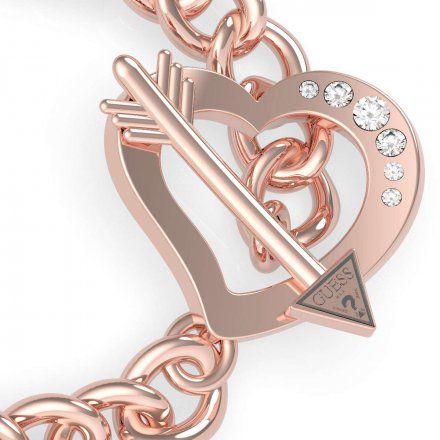 Biżuteria Guess damska bransoletka różowe złoto serce strzała UBB79095-L