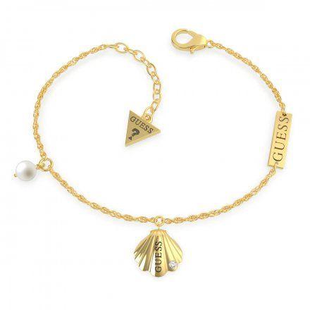 Biżuteria Guess damska bransoletka złota muszelka perła UBB79099-S