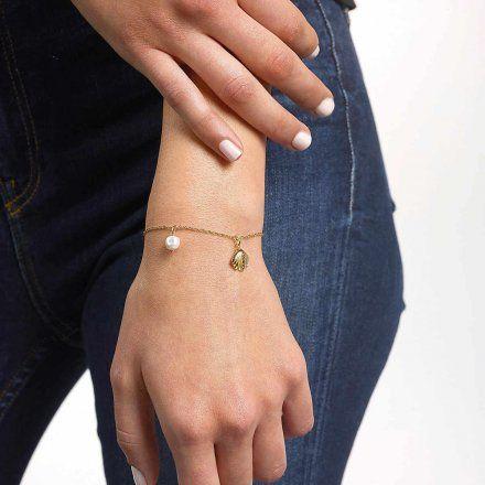 Biżuteria Guess damska bransoletka złota muszelka perła UBB79099-L