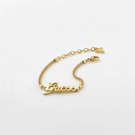 Biżuteria Guess damska bransoletka złota logo UBB79103-S