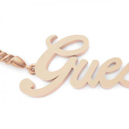 Biżuteria Guess damska bransoletka różowe złoto logo UBB79104-S