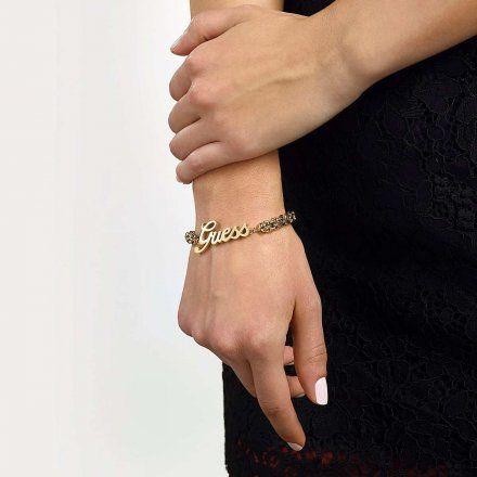 Biżuteria Guess damska bransoletka złota logo UBB79107-S