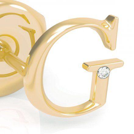 Biżuteria Guess kolczyki złote litera G UBE79031