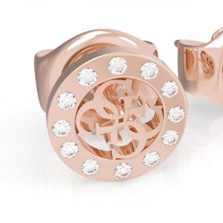 Biżuteria Guess kolczyki różowozłote logo Swarovski UBE79035