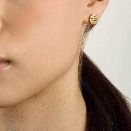Biżuteria Guess kolczyki złote okrągłe UBE79049