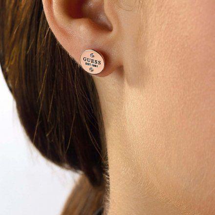 Biżuteria Guess kolczyki różowozłote okrągłe UBE79050
