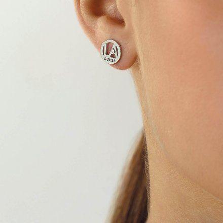 Biżuteria Guess kolczyki srebrne okrągłe UBE79051