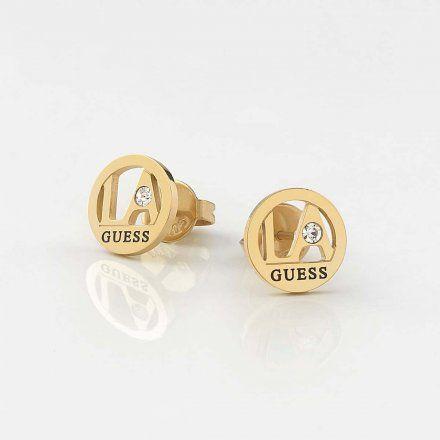 Biżuteria Guess kolczyki złote okrągłe UBE79052
