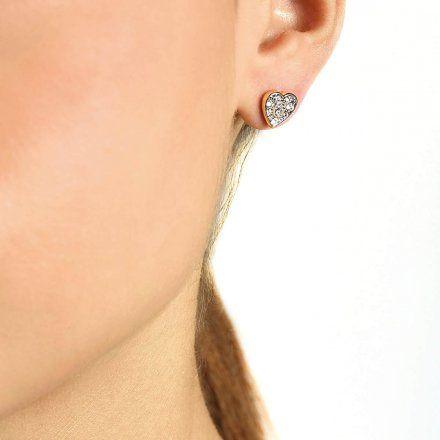 Biżuteria Guess kolczyki złote serca Swarovski UBE79073