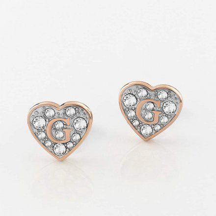 Biżuteria Guess kolczyki rózowozłote serca Swarovski UBE79074