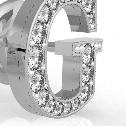 Biżuteria Guess kolczyki srebrne litera G Swarovski UBE79109